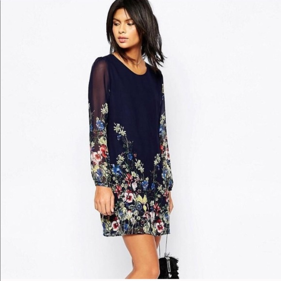 4b19a63d0ada ASOS Dresses | Bnwt Yumi Floral Shift Dress Wsheer Long Sleeve ...